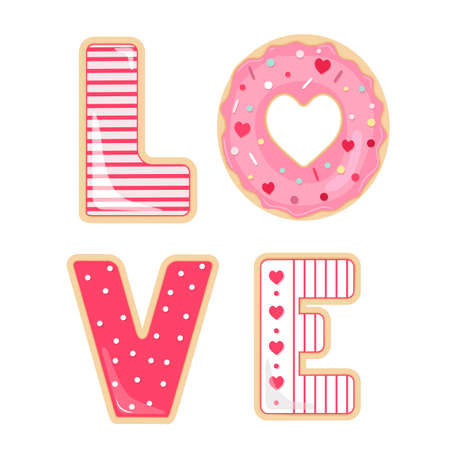 Vector set of glazed and sprinkles cookies and donut for Valentines Day.