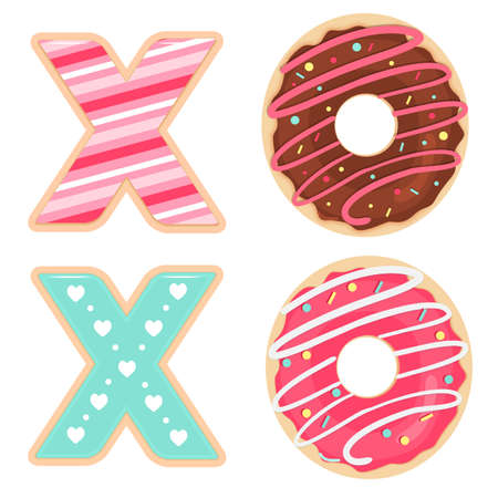 Vector set of glazed and sprinkles cookies and donuts for Valentines Day.