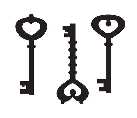 Set of vintage vector key silhouettes. Black color.