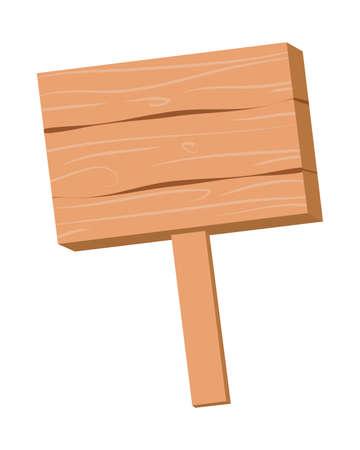Wood information board. Vector illustration.