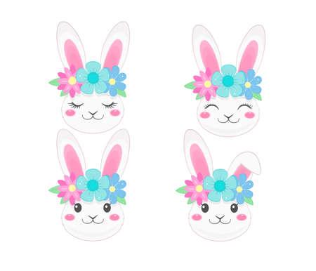 Cute bunny faces with flower wreath. Cartoon style