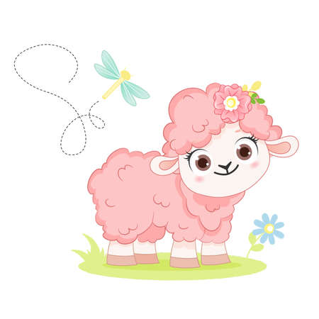 Cartoon smiling vector pink sheep stay on white background. Illustration for kid 向量圖像