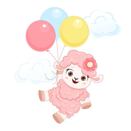 Cartoon smiling vector pink sheep with balloons. Illustration for kid 向量圖像