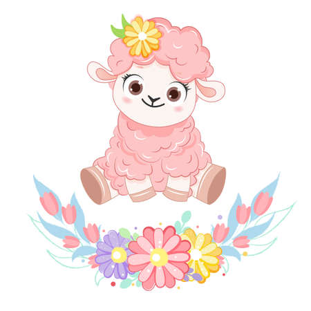 Cartoon smiling pink sheep with flower wreath. .Vector illustration for kid.