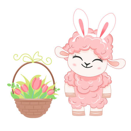 Cartoon smiling pink sheep with bunny ears. .Vector illustration for kid.