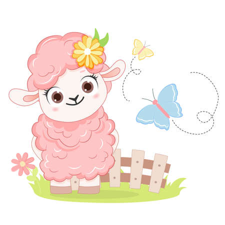 Cartoon smiling pink sheep. .Vector illustration for kid.