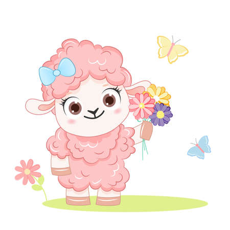 Cartoon smiling pink sheep with flowers .Vector illustration for kid. 向量圖像