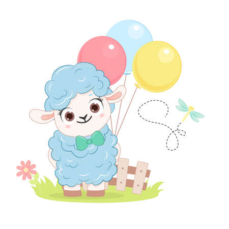Cartoon smiling blue sheep with balloons. .Vector illustration for kid. 向量圖像