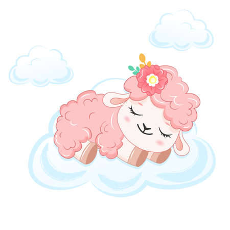 Cartoon smiling pink sheep on cloud. .Vector illustration for kid.