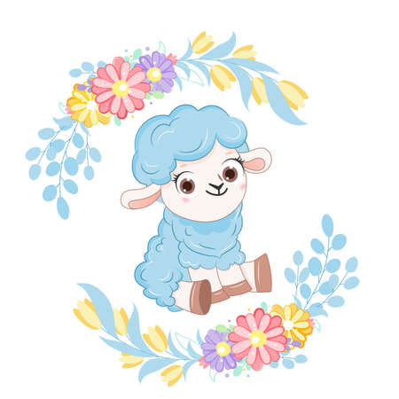 Cartoon smiling blue sheep with flower wreath. .Vector illustration for kid.