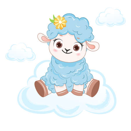 Cartoon smiling blue sheep on cloud. .Vector illustration for kid.