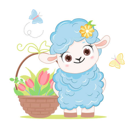 Cartoon smiling blue sheep with flowers .Vector illustration for kid.