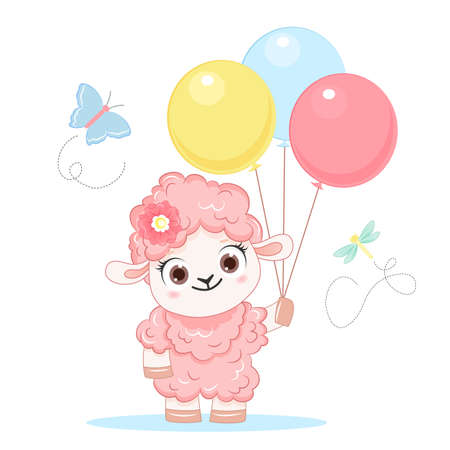 Cartoon smiling pink sheep with balloons. .Vector illustration for kid.