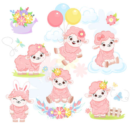 Collection of cartoon smiling pink sheeps with balloons. .Vector illustration for kid.