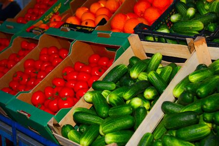 Fresh vegetables on stall for selling Stock Photo - 16671597