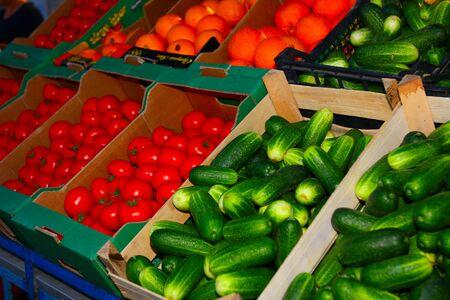 Fresh vegetables on stall for selling Stock Photo - 16671597