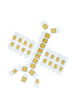 Shape like communication satellite made of sim cards for cell phone, mobile  photo