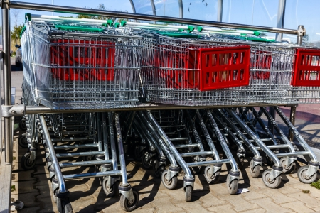 shopping carts outside of supermarket in rows  photo