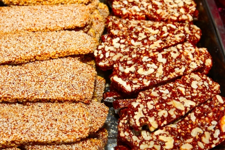 gozinaki: traditional confection made of caramelized nuts and sesame Stock Photo