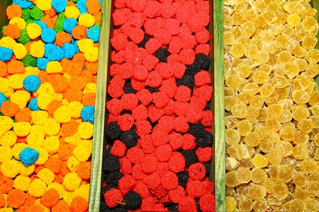 sorted: Candies for sale are sorted into pots