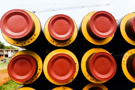 industrially: Long distance heating pipes ready to assembly