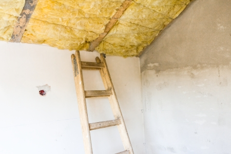 rock wool: Old wooden ladder ready for climbing up