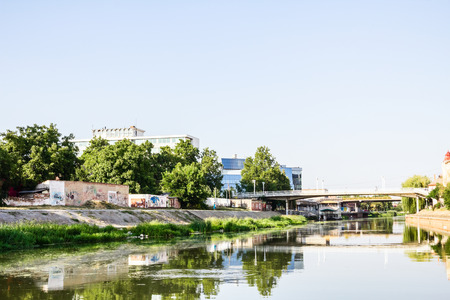 riverbed: Concrete riverbed of river Begej near down town in city Zrenjanin   Stock Photo