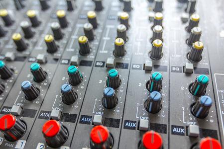 turning table: Sound studio adjusting record equipment, music mixer