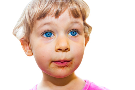 smeared: Blue-eyed, 3 year old girl smeared around mouth  Stock Photo