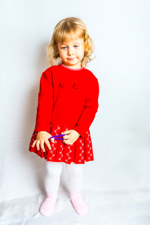 3 year old: Blue-eyed, 3 year old girl in red dress