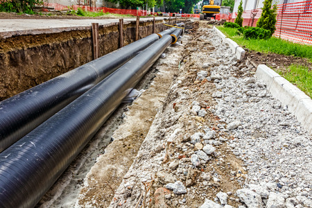 industrial site: New pipeline in the process of building, under construction Stock Photo