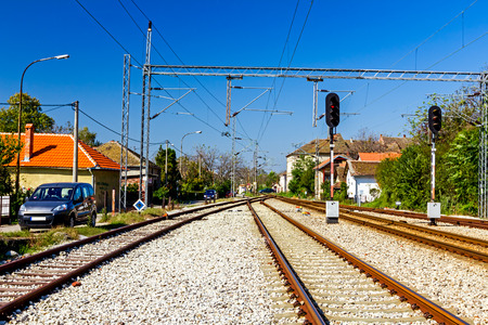 Complex railway junction, confusing tracks in Europe. Stock Photo