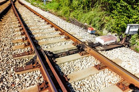 shunt: Railway switch. Railway shunt. Railroad shunt. Railroad switch. Stock Photo