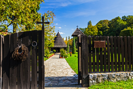 the godfather: Wooden church which is great prince raised for his godfather, near place Big Plana in Serbia. Stock Photo