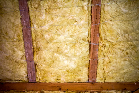 Thermal insulation material - fiberglass, roof in attic