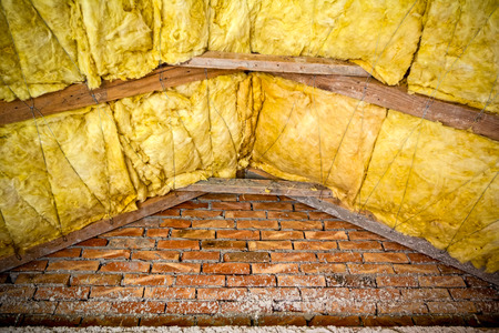 glasswool: Thermal insulation material - fiberglass, roof in attic