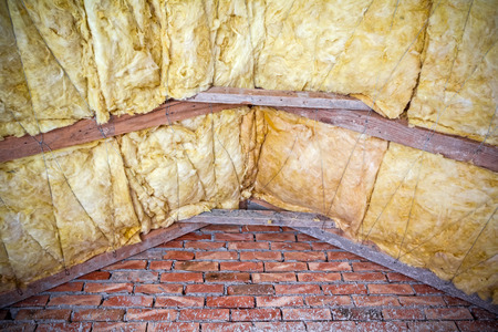 attic: Thermal insulation material - fiberglass, roof in attic