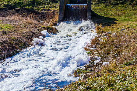 sewage: Pollution from sewage discharged from the pipe to the channel