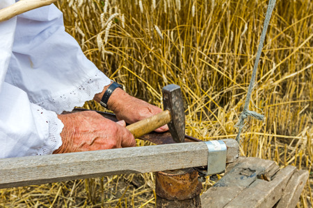 tree stump: Man with hammer and iron tool on the tree stump is sharpening his scythe. Stock Photo