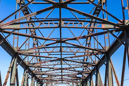 girders: Steel girders at old bridge, clear blue sky is in background.