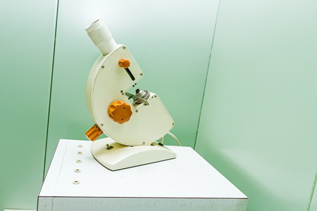 ocular: Medical equipment, electron microscope with huge ocular in laboratory office.