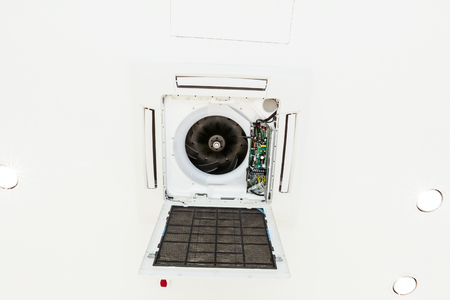 air duct: Open air duct cover. Air conditioning system is on ceiling, cassette type air condition.