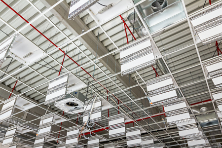 office ceiling: Mounting neon on suspended office ceiling, futuristic white office ceiling