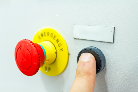 override: Reset fuse box with emergency red shutdown (panic) button. Stock Photo