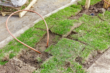 cuprite: Bended copper pipe is coming out from the ground around grass roots.