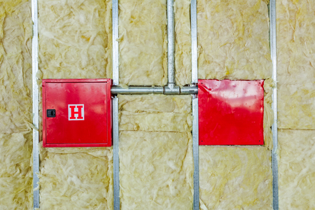 rock wool: Front and back side of fire box with symbol for hydrant is in unfinished party wall.