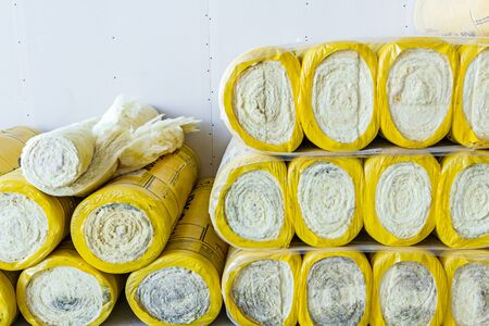 rock wool: Package of thermal insulation material, rock wool is wrapped in foil.