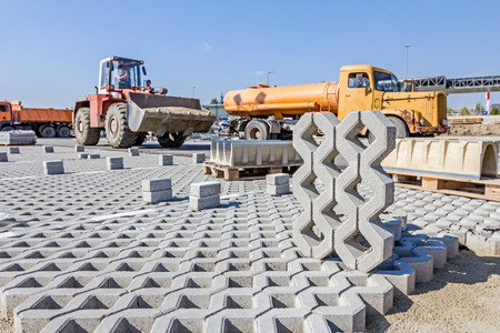 precast: Symmetrical and decorative precast shape is ready to be placed in parking spot.