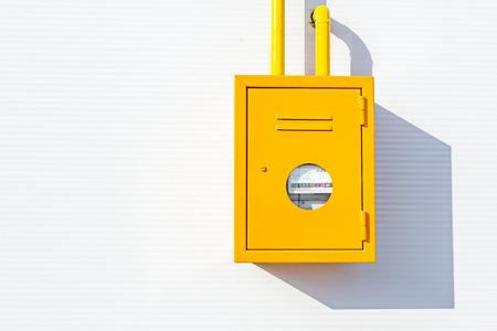 meter box: Gas meter at measuring place, metal box, distribution place