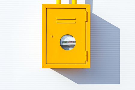 gas distribution: Gas meter at measuring place, metal box, distribution place